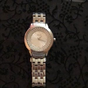 RELIC SILVER & CRYSTAL WATCH